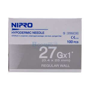 [1 กล่อง 100 ชิ้น]เข็มฉีดยา ยี่ห้อ นิโปร เบอร์ 27 X 1″