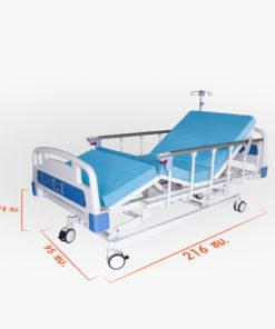 เตียงผู้ป่วยไฟฟ้า 3 ไก SKD-A หัวท้าย ABS ราวสไลด์ พร้อมเบาะนอน 4 ตอน
