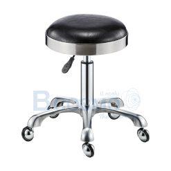 เก้าอี้กลมขอบสแตนเลสหนา แบบโช๊ค ฐานดาวอลู  มีล้อ 201 เบาะนั่ง – [ สีขาว | สีดำ ]