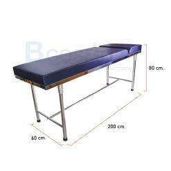 เตียงตรวจ สแตนเลส เบาะหนา (เหลี่ยม) ขากลม 60x200x80 cm. สีกรม