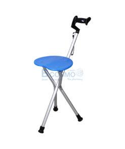 ไม้เท้าอลูมิเนียม 3 ขา ปรับระดับได้ที่นั่งหัวใจ สีฟ้า