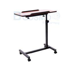 โต๊ะคร่อมเตียง พับได้มีกันตก สีน้ำตาลแดง
