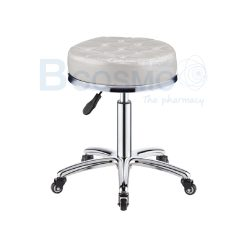 เก้าอี้กลมขอบสแตนเลสแบบโช๊ค ฐานรูปดาว เบาะนั่งหนาสีครีม มีล้อ 201