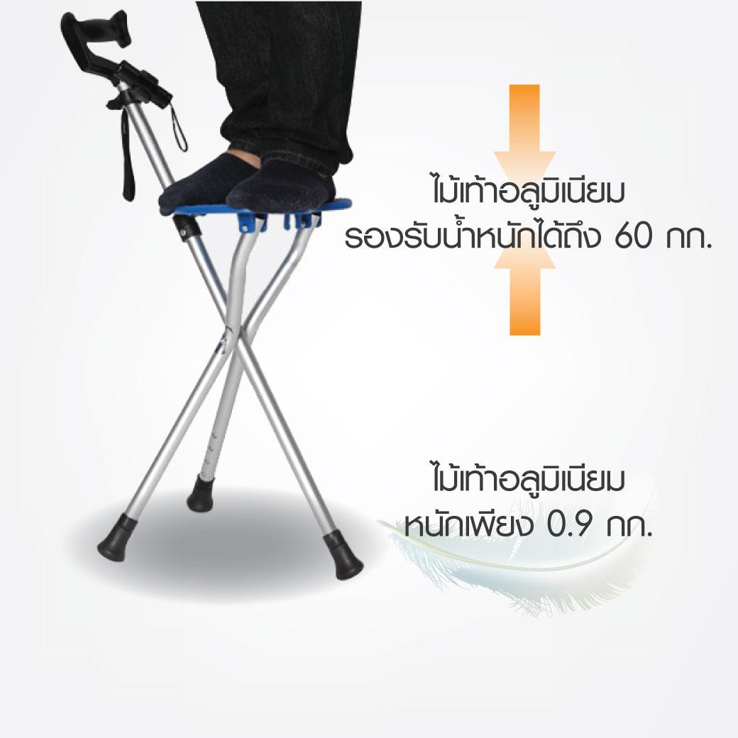 Detail ไม้เท้าอลูมิเนียม 3 ขา ปรับระดับได้ที่นั 1