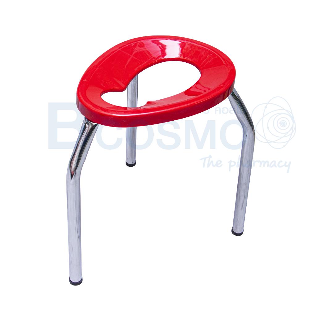 MT0105 L R เก้าอี้นั่งถ่าย 3 ขาพับไม่ได้ ขนาดใหญ่ สีแดง 50 ซม. 1