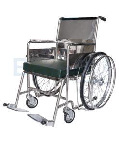 รถเข็นผู้ป่วยสแตนเลส พับไม่ได้ พร้อมเบาะรองนั่ง PS56