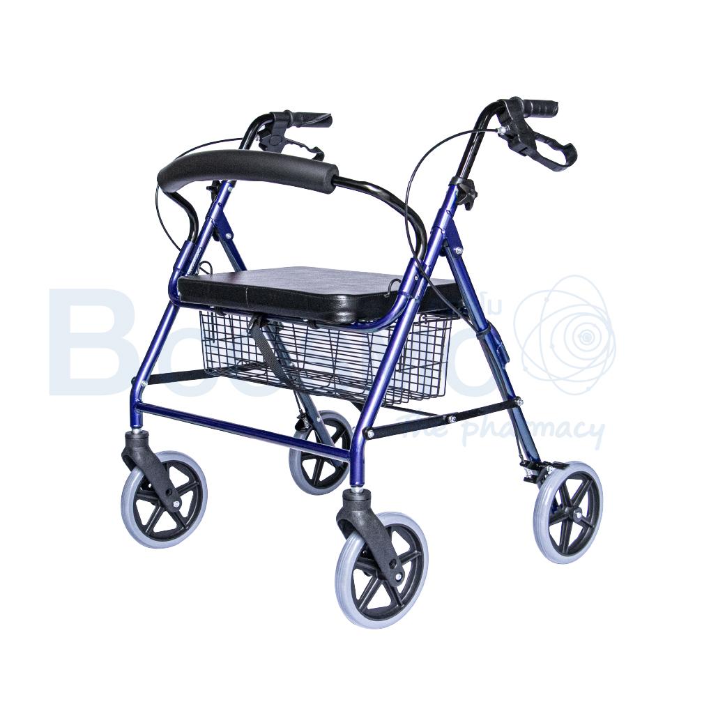 WC0408 BL Wheelchair Rollator รถเข็นหัดเดิน 2 in 1 ล้อ 8 นิ้วเบาะใหญ่ สีน้ำเงิน Y882LW