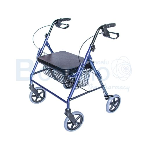 WC0408 BL Wheelchair Rollator รถเข็นหัดเดิน 2 in 1 ล้อ 8 นิ้วเบาะใหญ่ สีน้ำเงิน Y882LW 1
