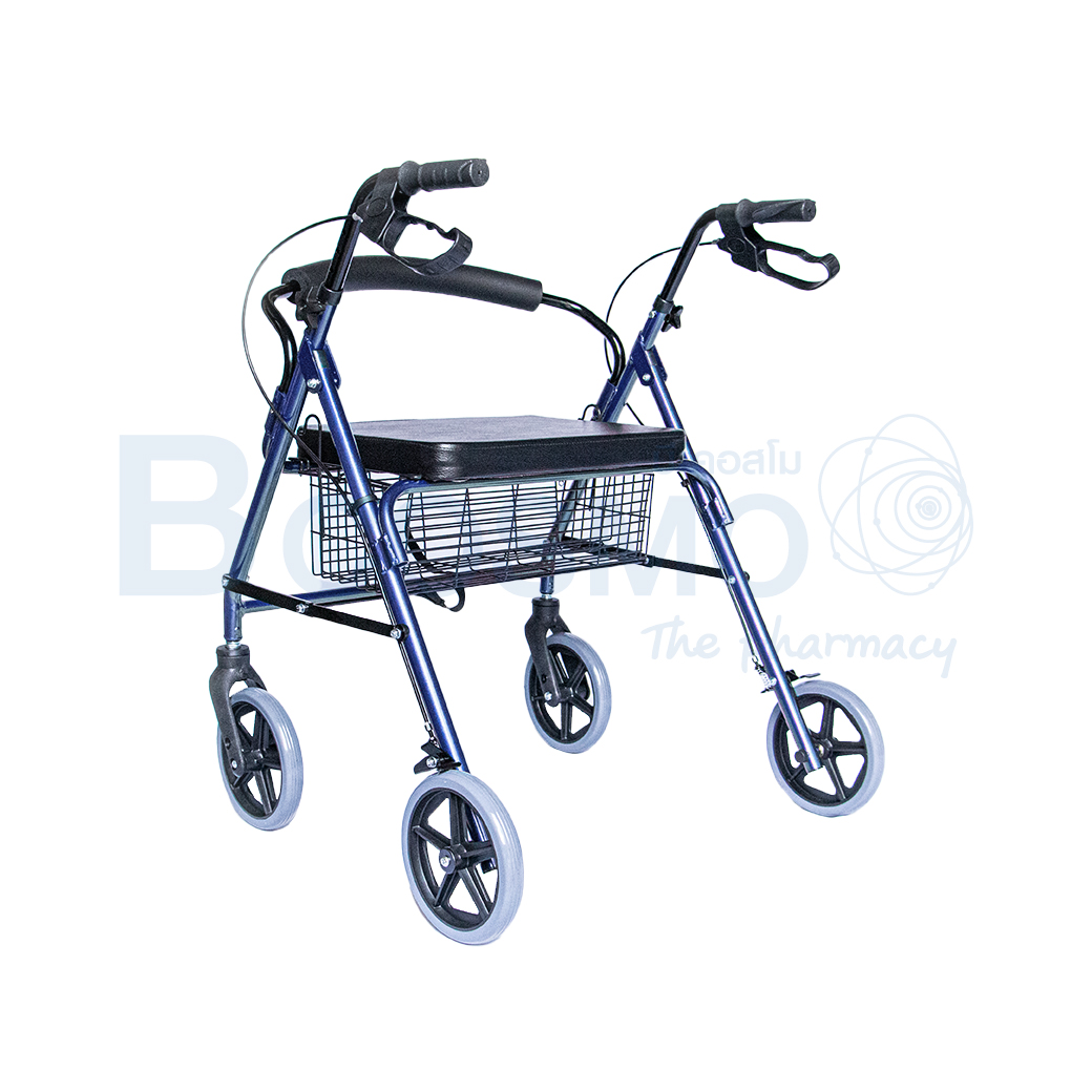 WC0408 BL Wheelchair Rollator รถเข็นหัดเดิน 2 in 1 ล้อ 8 นิ้วเบาะใหญ่ สีน้ำเงิน Y882LW 2