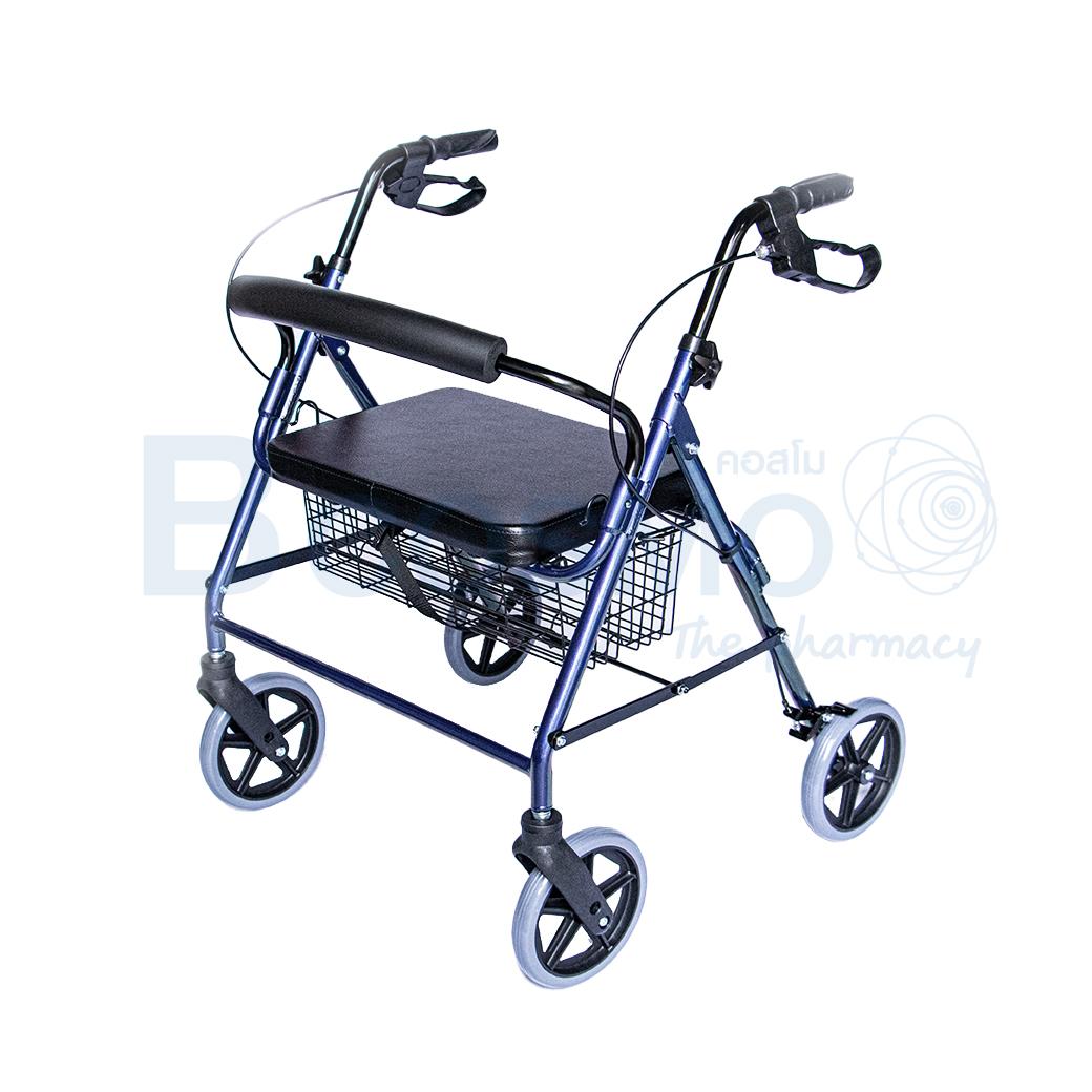 WC0408 BL Wheelchair Rollator รถเข็นหัดเดิน 2 in 1 ล้อ 8 นิ้วเบาะใหญ่ สีน้ำเงิน Y882LW 4
