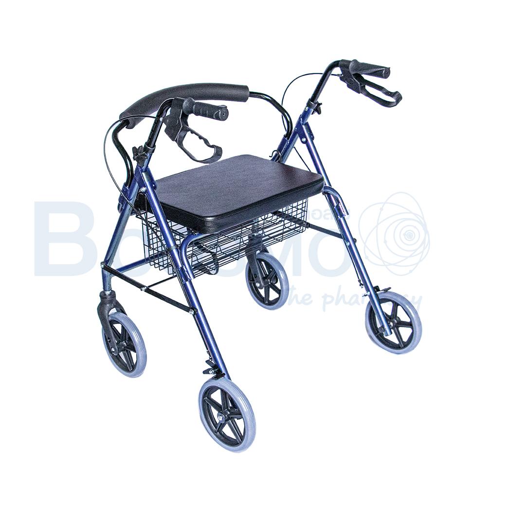 WC0408 BL Wheelchair Rollator รถเข็นหัดเดิน 2 in 1 ล้อ 8 นิ้วเบาะใหญ่ สีน้ำเงิน Y882LW 5