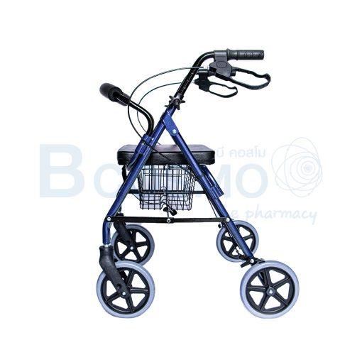 WC0408 BL Wheelchair Rollator รถเข็นหัดเดิน 2 in 1 ล้อ 8 นิ้วเบาะใหญ่ สีน้ำเงิน Y882LW 6