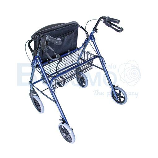 WC0408 BL Wheelchair Rollator รถเข็นหัดเดิน 2 in 1 ล้อ 8 นิ้วเบาะใหญ่ สีน้ำเงิน Y882LW 7