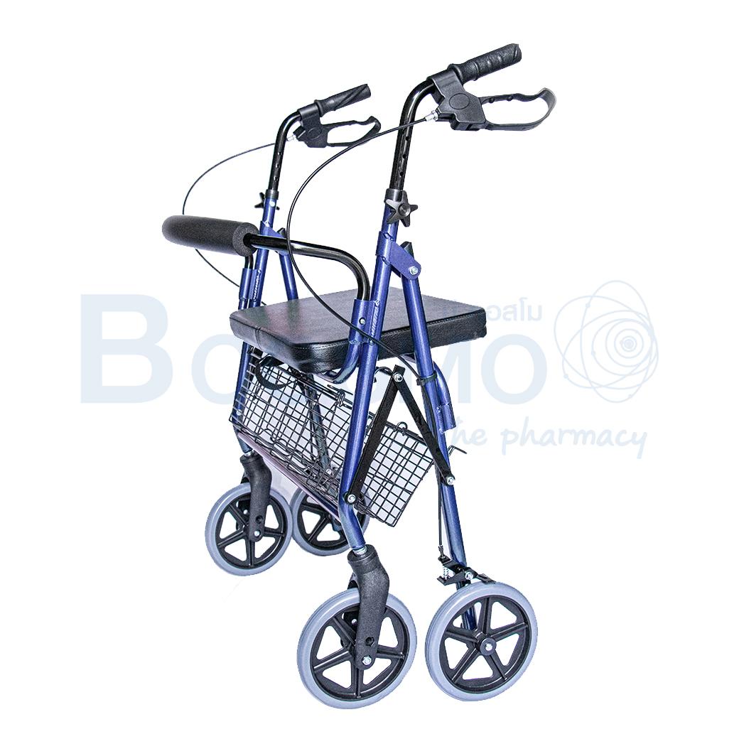WC0408 BL Wheelchair Rollator รถเข็นหัดเดิน 2 in 1 ล้อ 8 นิ้วเบาะใหญ่ สีน้ำเงิน Y882LW 8