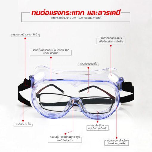 แว่นครอบตานิรภัย 3M 1621 ป้องกันสารเคมี MT0608 2