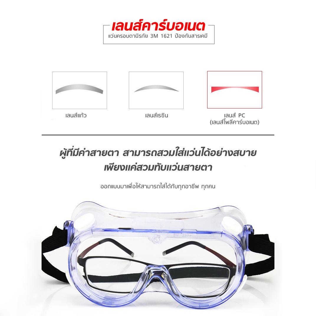 แว่นครอบตานิรภัย 3M 1621 ป้องกันสารเคมี MT0608 4