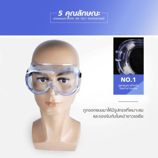 แว่นครอบตานิรภัย 3M 1621 ป้องกันสารเคมี MT0608 5