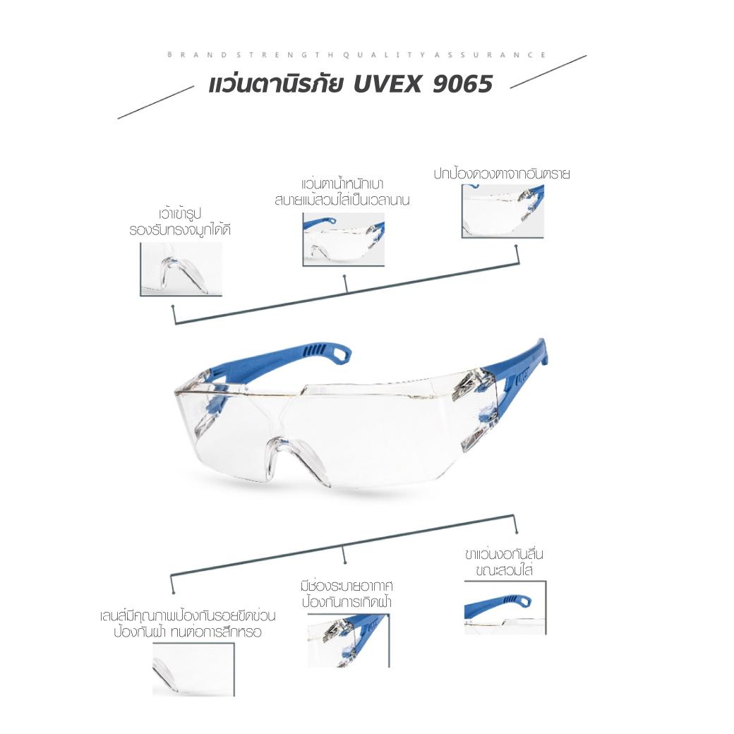 แว่นตานิรภัย UVEX 9065 ป้องกันฝุ่นละออง MT0610