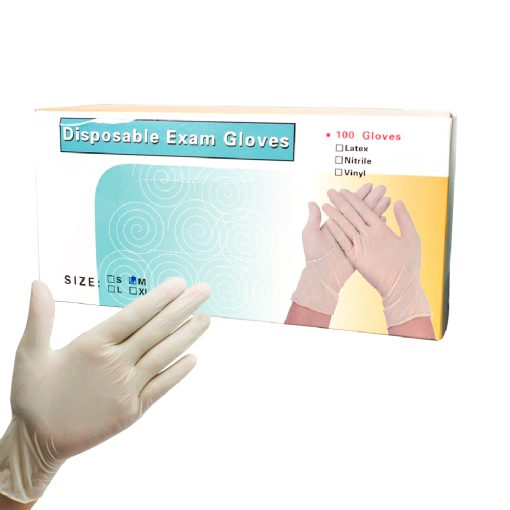 EF0729 M ถุงมือยาง 9 Disposable Exam Gloves 100s SIZE M