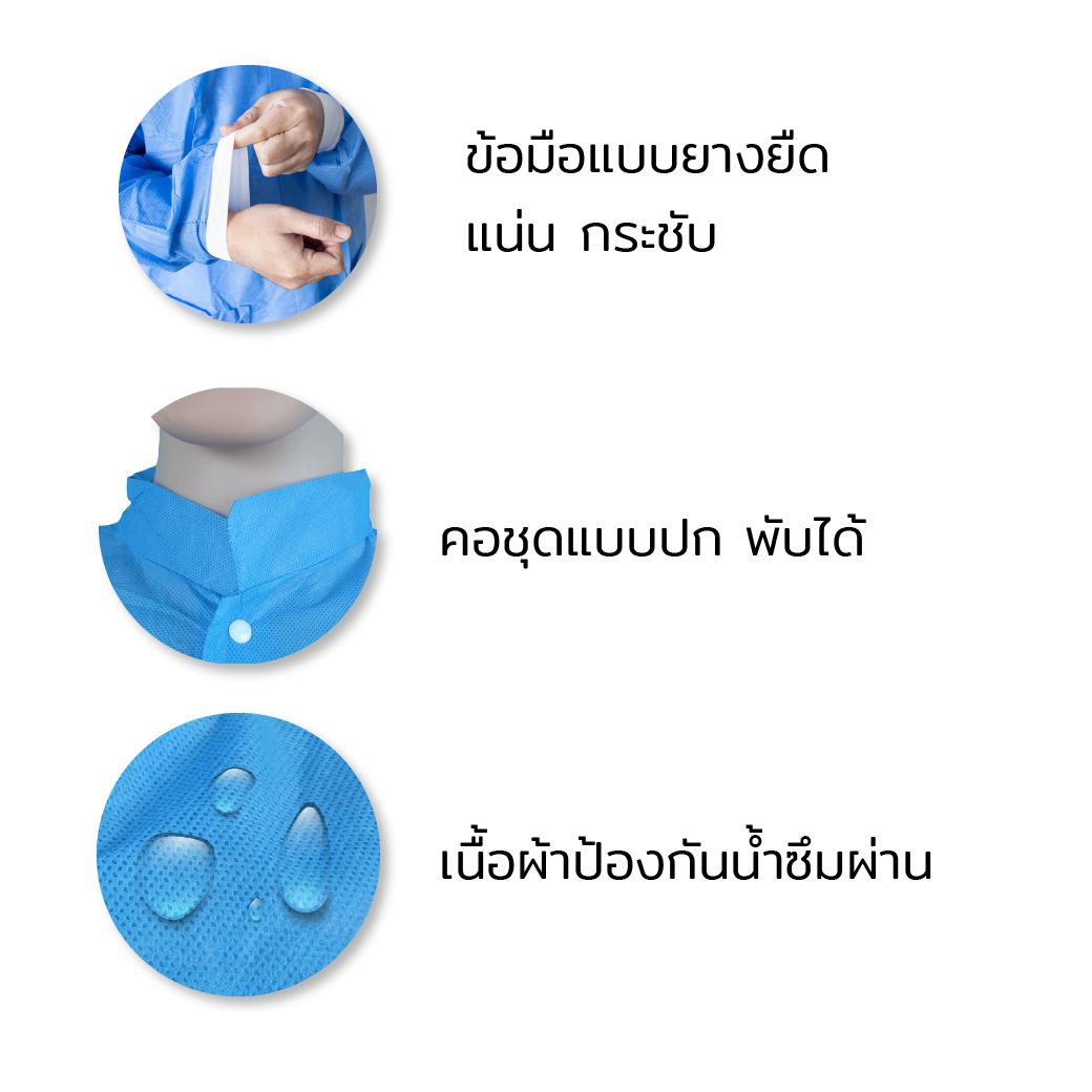 MT0435 M BL เสื้อกาวน์คอปก SMS กันน้ำสีฟ้า 4
