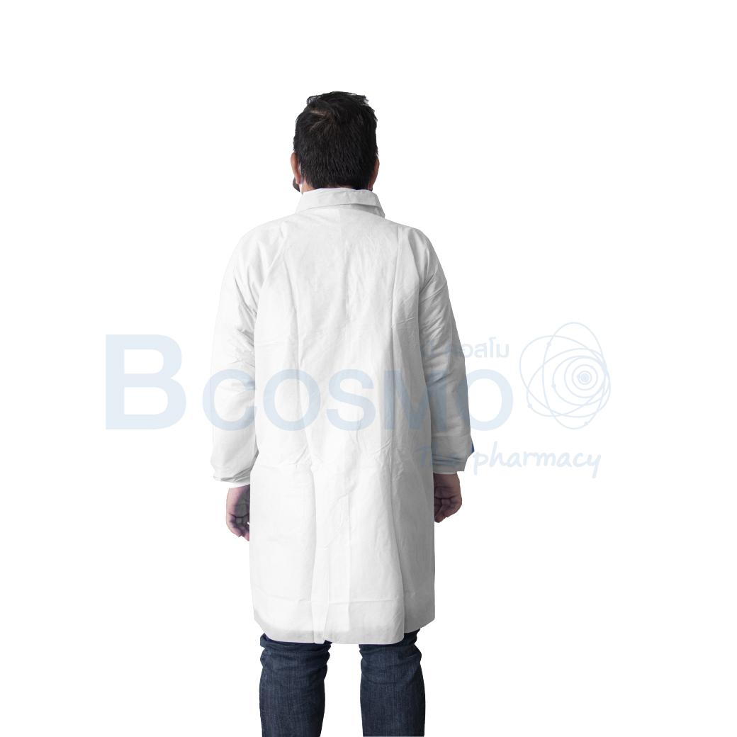 MT0435 M WH เสื้อกาวน์คอปก SMS กันน้ำสีขาว 2