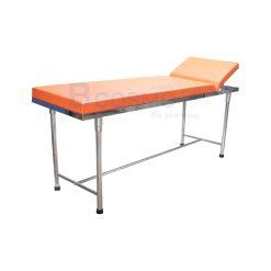 เตียงตรวจ สแตนเลส (เหลี่ยม) 60x200x80 cm. สีส้ม