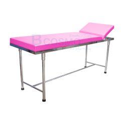 เตียงตรวจ สแตนเลส (เหลี่ยม) 60x200x80 cm. สีชมพู