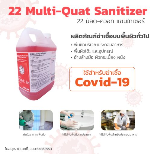 PA2811 22 มัลติ ควอทแซนิไทเซอร์ 22 Multi Quat Sanitizer 2 l