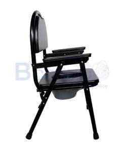 เก้าอี้นั่งถ่ายพลาสติกเบาะนิ่ม โครงเหล็ก  Y8996 สีดำ