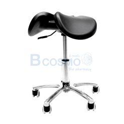 เก้าอี้เบาะอานม้า มีร่อง แบบโช๊ค ฐาน 5 แฉก มีล้อ สีดำ