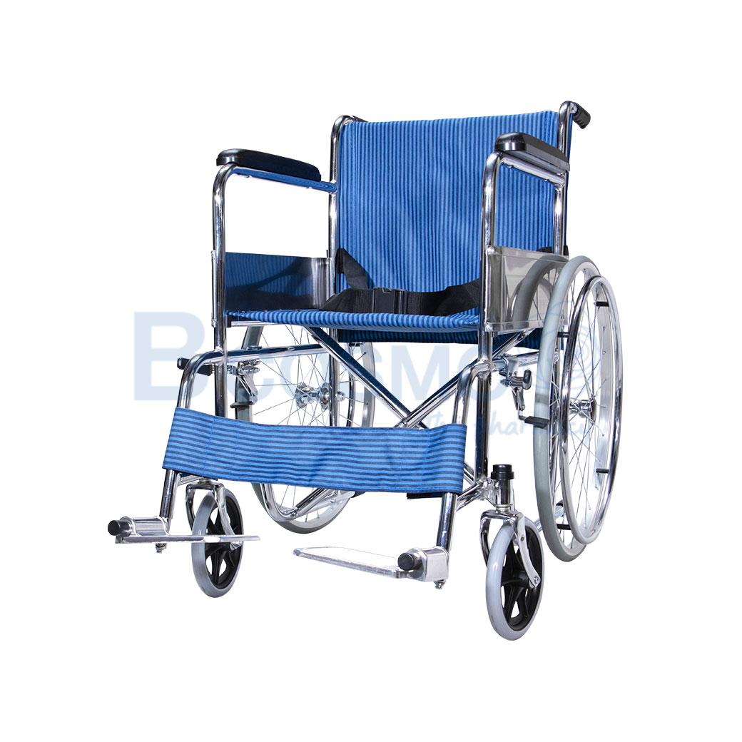 WC1003 BL รถเข็นมาตรฐาน ล้อซี่ ไม่มีเบรกมือ เบาะผ้าสีน้ำเงิน WHEELCHAIR CA905 PS57A ลายน้ำ4