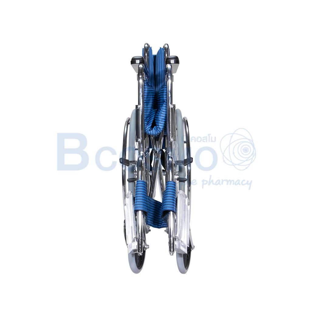 WC1003 BL รถเข็นมาตรฐาน ล้อซี่ ไม่มีเบรกมือ เบาะผ้าสีน้ำเงิน WHEELCHAIR CA905 PS57A ลายน้ำ6
