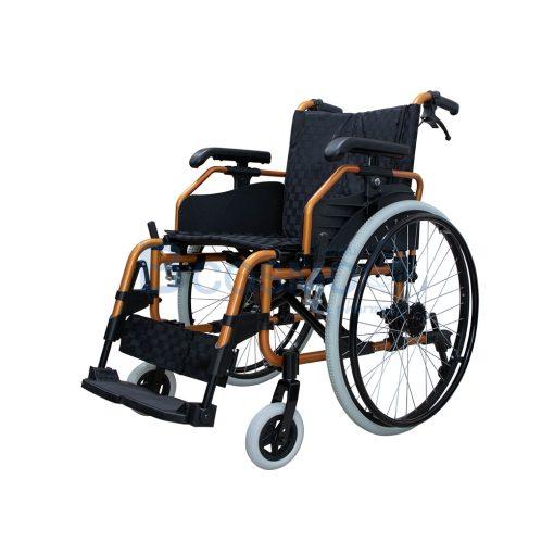 ล้อซี่ 24 นิ้วมีเบรค WHEELCHAIR สีส้ม เบาะสีดำ FS683L WC0504 OR 1