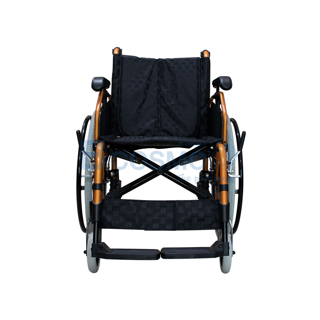 ล้อซี่ 24 นิ้วมีเบรค WHEELCHAIR สีส้ม เบาะสีดำ FS683L WC0504 OR 2