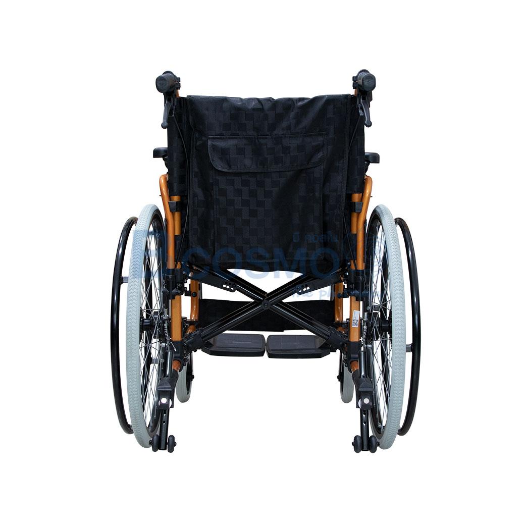 ล้อซี่ 24 นิ้วมีเบรค WHEELCHAIR สีส้ม เบาะสีดำ FS683L WC0504 OR 4