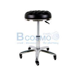 เก้าอี้กลมขอบสแตนเลสโช๊ค เบาะนั่งแบบนูน ฐานรูปดาว มีล้อ 201