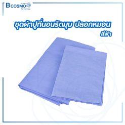 ชุด ผ้าปูที่นอนรัดมุม ปลอกหมอน สีฟ้า
