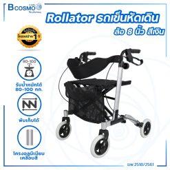 Wheelchair Rollator รถเข็นหัดเดิน ล้อ 8 นิ้ว สีเงิน