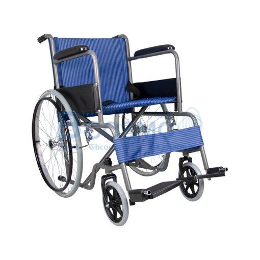 ล้อซี่ ไม่มีเบรกมือ เบาะผ้าลายสก็อตน้ำเงิน WHEELCHAIR CA907 BLUE WC1012 BL2