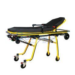 เตียงเข็นฉุกเฉินปรับนั่งได้ Stretcher สีเหลือง เบาะนิ่ม