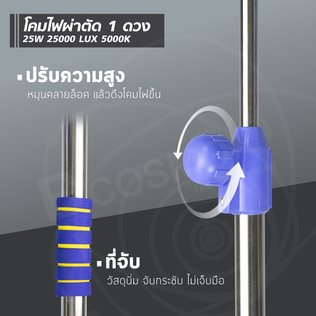 โคมไฟผ่าตัด 1 ดวง 25W 25000 LUX 5000K