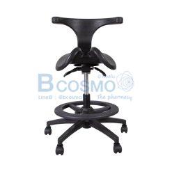 เก้าอี้เบาะอานม้ามีร่องสีดำ มีพนักพิง ปรับระดับได้ มีโช๊ค ฐาน 5 แฉก