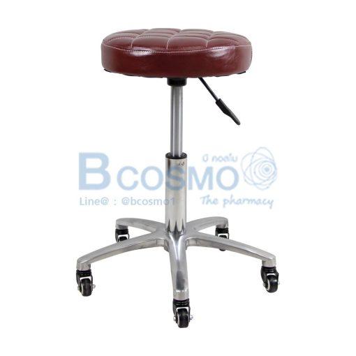 เก้าอี้กลมขอบสแตนเลสโช๊ค เบาะนั่งแบบตาราง ฐานรูปดาว มีล้อ 201
