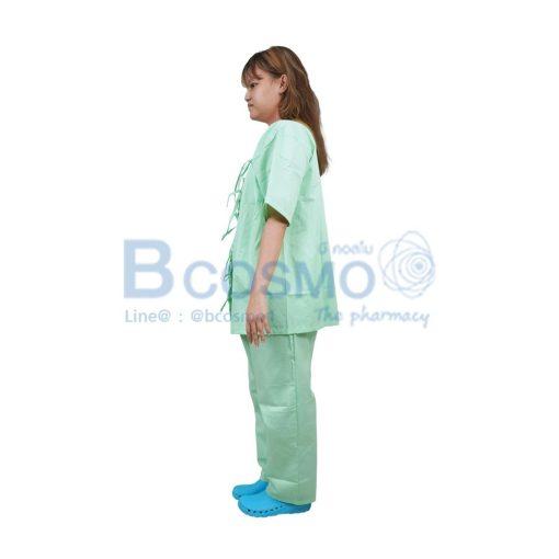 ชุดผู้ป่วยผูกหน้า สีเขียว